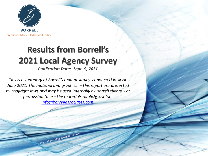 Results from Borrell's 2021 Survey of Local Ad Agencies